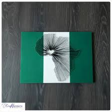Nigeria Africa Map by Handmade African Map String Art Nigerian Flag By Craftformers On