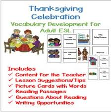 esl thanksgiving vocabulary development for and adults