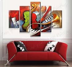 100 hand painted abstract music paintings wall art 5 panel canvas