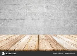 concrete wood table top empty light wood table top with concrete wall background stock