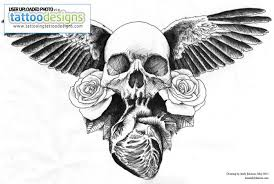 skull and heart chestpieceweb tattoo design image tattooing