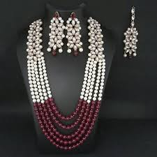 gold plated beads necklace images Kriaa gold plated maroon beads necklace set jpg