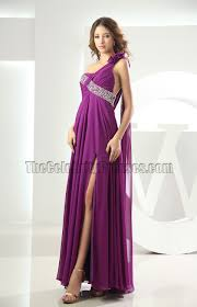 backless purple one shoulder prom gown evening dress