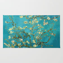 Tree Rugs Vincent Van Gogh Blossoming Almond Tree Rug By Art Gallery Society6