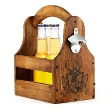 wooden craft carrier with attached bottle opener