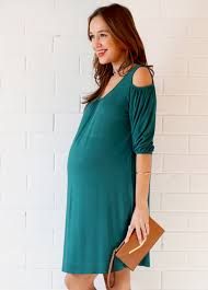 keaton open shoulder maternity dress by trimester clothing