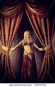 Curtain Dancing Beautiful Traditional Female Dancer Ethnic Dance Stock Photo