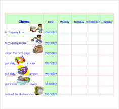 chore list template chore list templates 7 free documents in word excel pdf