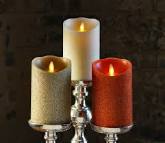 Outdoor Candle Lighting by Moving Flame Pearl White Glitter Candle Battery Operated 3 5 X 5