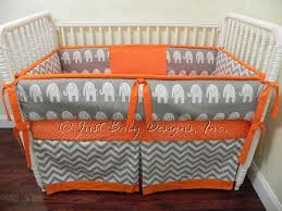 Orange Crib Bedding Custom Baby Bedding Set Gray Chevron Gray Babybedding