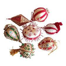 vintage beaded ornaments set of 7 chairish