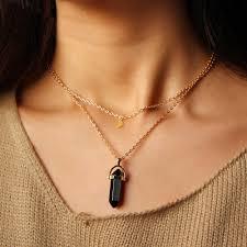 pendant choker necklace images Free vintage 2 layer color natural stone pendants choker necklaces jpg