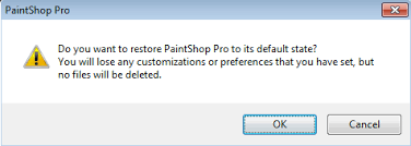 how to reset or restore paintshop pro x4 x5 to its default or