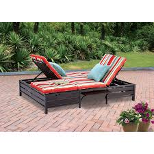 Patio Furniture Lounge Chair Mainstays Double Chaise Lounger Stripe Seats 2 Walmart Com