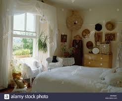 Bed Linen And Curtains - white curtains and bed linen in country bedroom with open sash
