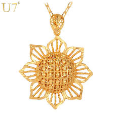 trendy flower necklace images U7 sun flower pendant women gold color africa jewelry trendy jpg