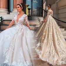 wedding dresses with sleeves vestido de noiva designer luxury pearls wedding dress