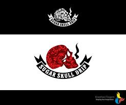 modern serious logo design for sugar skull drip by kreative fingers