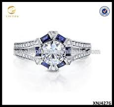 925 sterling silver round cut moissanite ring blue sapphire