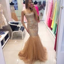 cheap tulle custom cheap beaded sweetheart tulle chagne mermaid prom