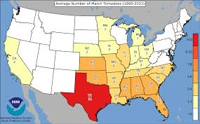 State By State Map Of Usa by Spc Average Number Of Tornadoes Per State By Month