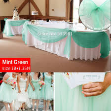 promotion mint green 10m 1 35m sheer organza swag fabric home