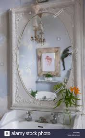 Shaped Bathroom Mirrors by Ornate Painted Oval Shaped Bathroom Mirror In Residential House