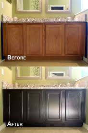 how to restain cabinets darker staining oak cabinets before and