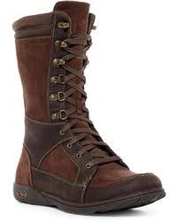 womens ugg lodge boot ugg lodge shearling fur lined lace up boots in lyst