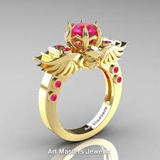 Gps Wedding Ring by Art Masters Classic Winged Skull 10k Yellow Gold 1 0 Ct Pink