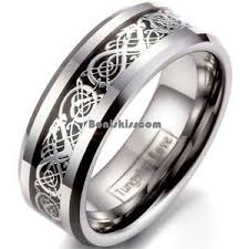 engagement ring for men 8mm tungsten carbide silver celtic scroll inlay ring men s