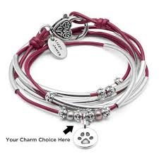 leather wrap bracelet with charm images Colored leather wrap bracelets lizzy james jpg