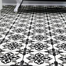 gray and black fleur de lis bathroom floor tiles design ideas