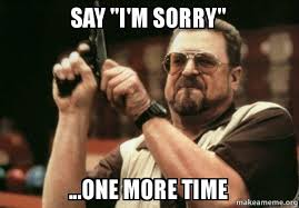 Sorry Meme - say i m sorry one more time sorry make a meme