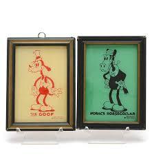 1930s reliance disney enamel glass pictures goofy horace