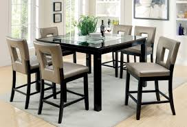 Counter Height Dining Room Table Black U0026 Pewter 7 Pc Counter Height Dining Set Caravana Furniture