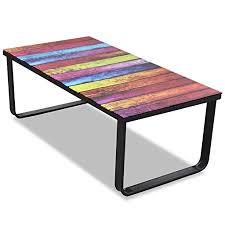 glass for coffee table vidaxl bedside table glass for coffee with rainbow printed amazon