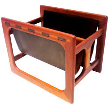 Leather Desk Organizer by Danish Modern Rare Leather And Teak Sculpted Double Magazine Rack