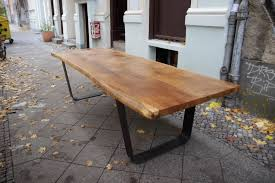 Oak Furniture Dining Tables Slab Oak Table Large Solid Oak Tabletop On Steel U Frame Legs 12