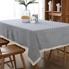 Coffee Table Cover European Style Simple Cotton Linen Plaid Printed Table Cloth