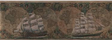 Old World Map Wallpaper by 879106 Satin Old World Sailing Ship Map Wallpaper Border 53524 U003cbr