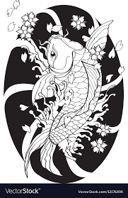 japanese style koi fish tattoo japanese style lined pattern draw vector image