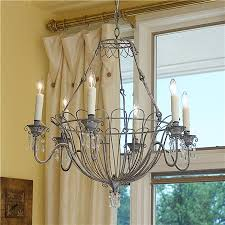 Basket Chandeliers Gray Wire Basket Chandelier With Authentic Faux Drip Candle