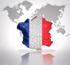 A Map Of France by Map Of France With French Flag On A World Map Background Stock