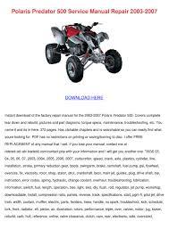polaris predator 500 service manual repair 20 by estebandobson issuu
