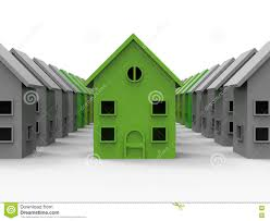 neighborhood energy efficient house stock illustration image