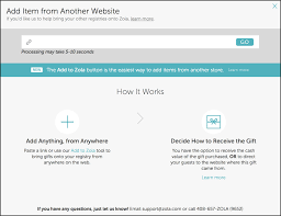 all in one wedding registry zola how to using the external import tool unveiled by zola