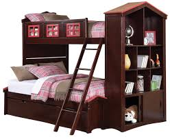 Over The Bed Bookshelf Acme Coyle Twin Over Full Bunk Bed With Storage Bookcase And