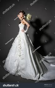 bride white elegance wedding dress tail stock photo 84002476