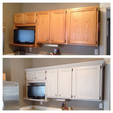 Kitchen Cabinet Transformations Added Crown Molding And Painted Cabinets Winter Fog With Rustoleum